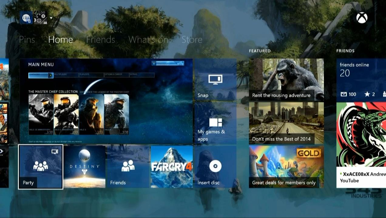 Xbox One Dashboard - transparente Kacheln