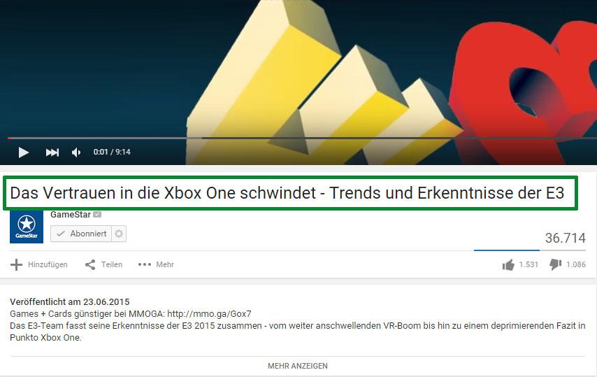 Gamestar ändert YouTube-Video-Titel