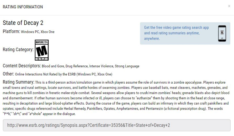 ESRB - State of Decay 2