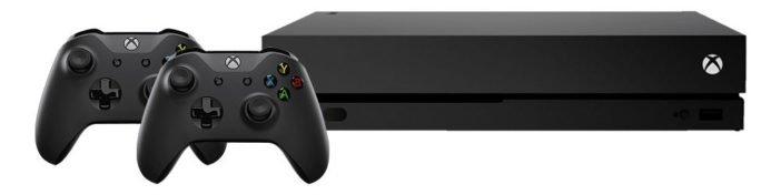 Xbox One X mit zwei Controllern