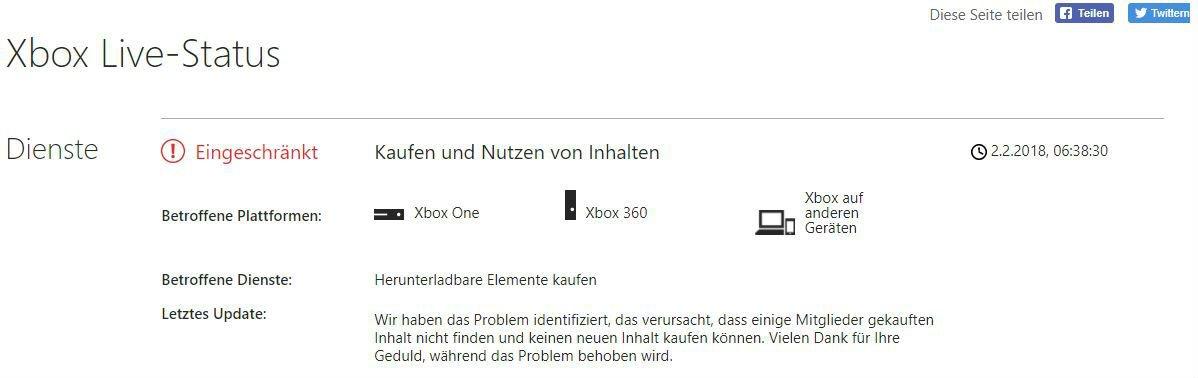 Xbox Live: Diverse Dienste nur eingeschränkt nutzbar