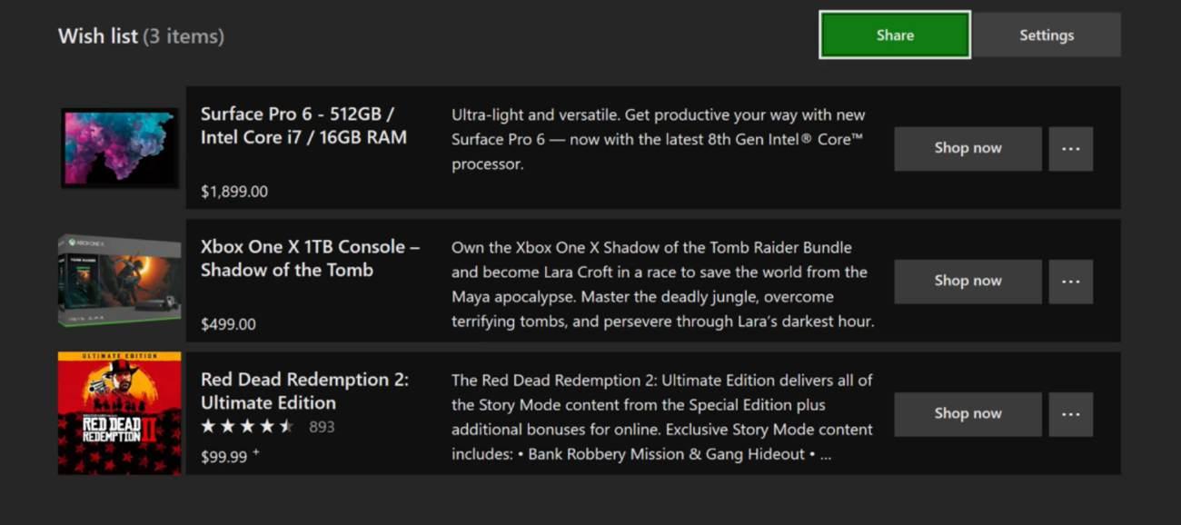 Xbox One Wunschliste