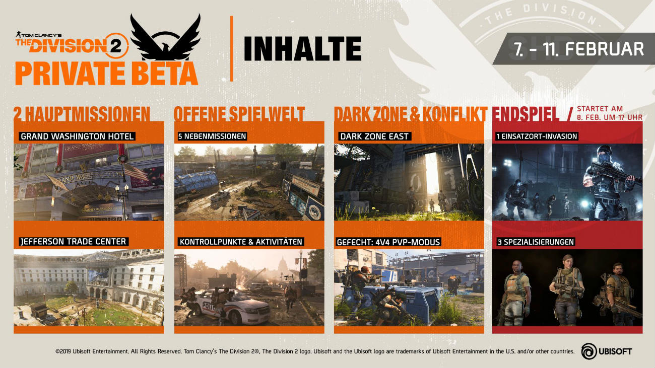 The Division 2 - Private Beta Inhalte