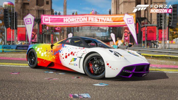 Forza Horizon 4 - Pagani Huayra mit der Forza Rainbow Lackierung