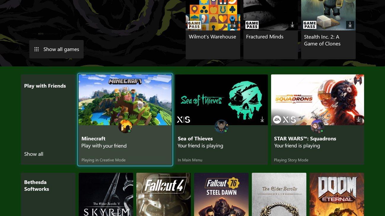 Xbox Dashboard - Xbox Game Pass