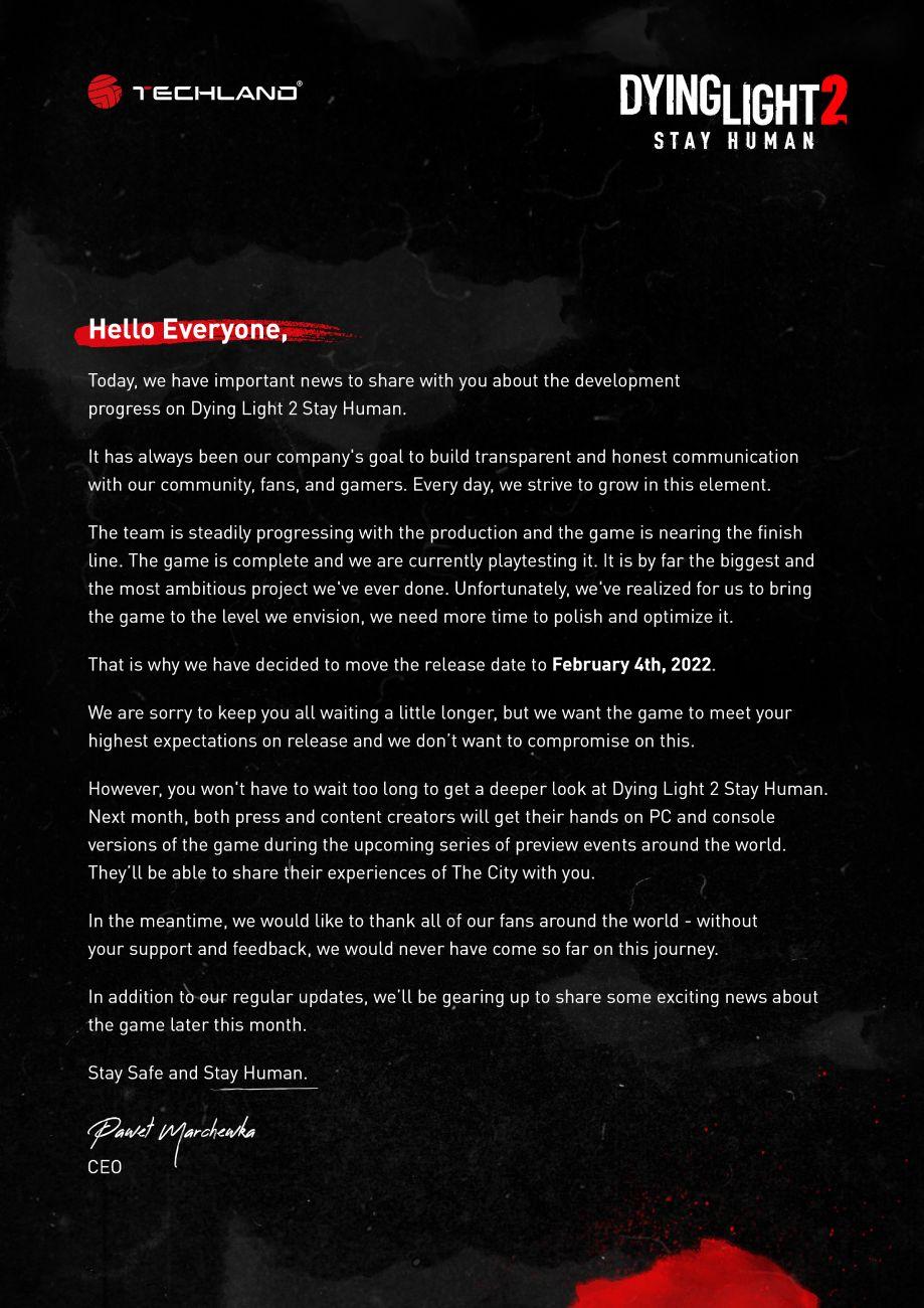 Dying Light 2 Stay Human - Verschiebung