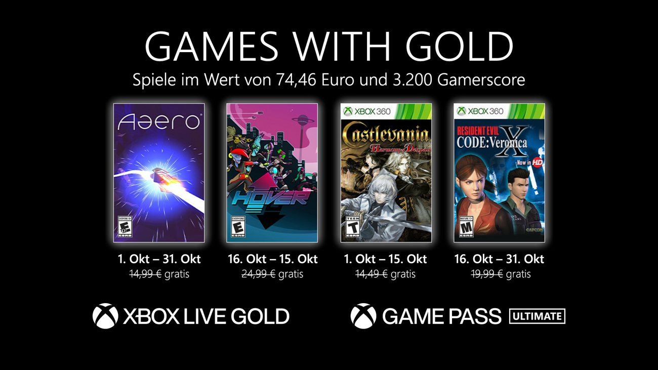 Games with Gold im Oktober 2021